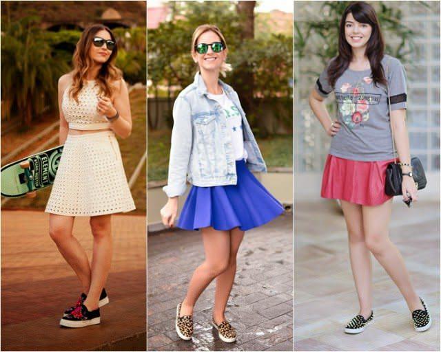 Tênis Slip on como usar com saias diversas