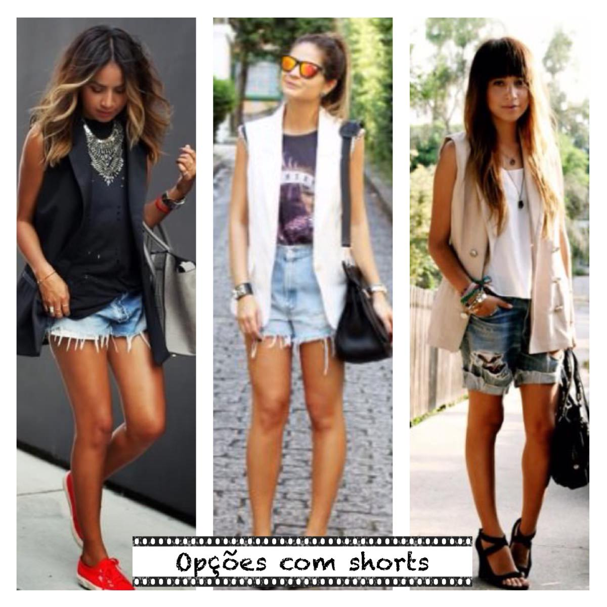 Looks com maxi colete e shorts jeans