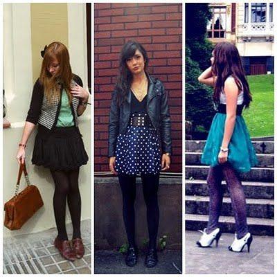 Looks com Sapatos Oxford Feminino - como usar com saia lisa e de bolinhaa