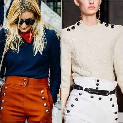 Tendência de Botões - Marcando presença nas calças e blusas de lã.