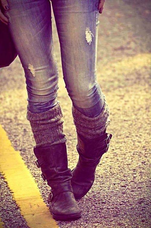 Calça jeans e polaina