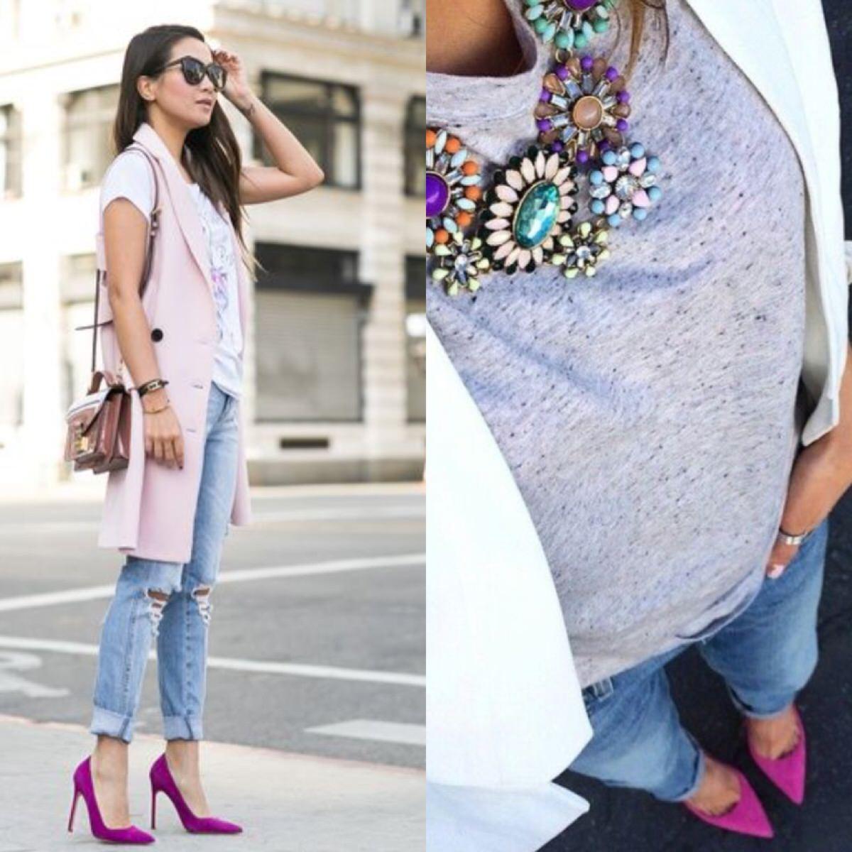 Look com scarpim pink Vizzano.