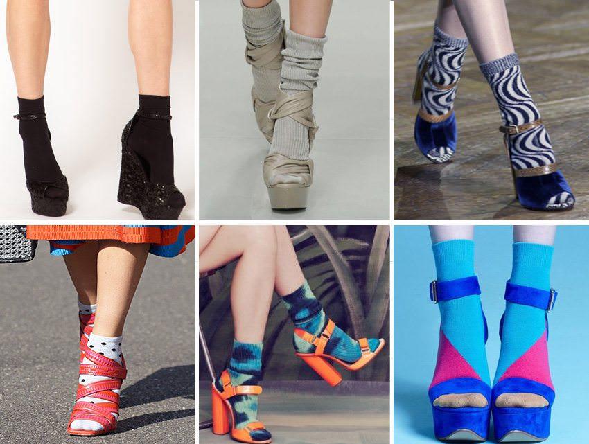 Sandalia com meia colorida tendencia inverno