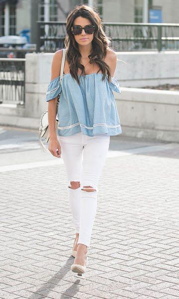 Look em tons pasteis como azul bebê e calça branca