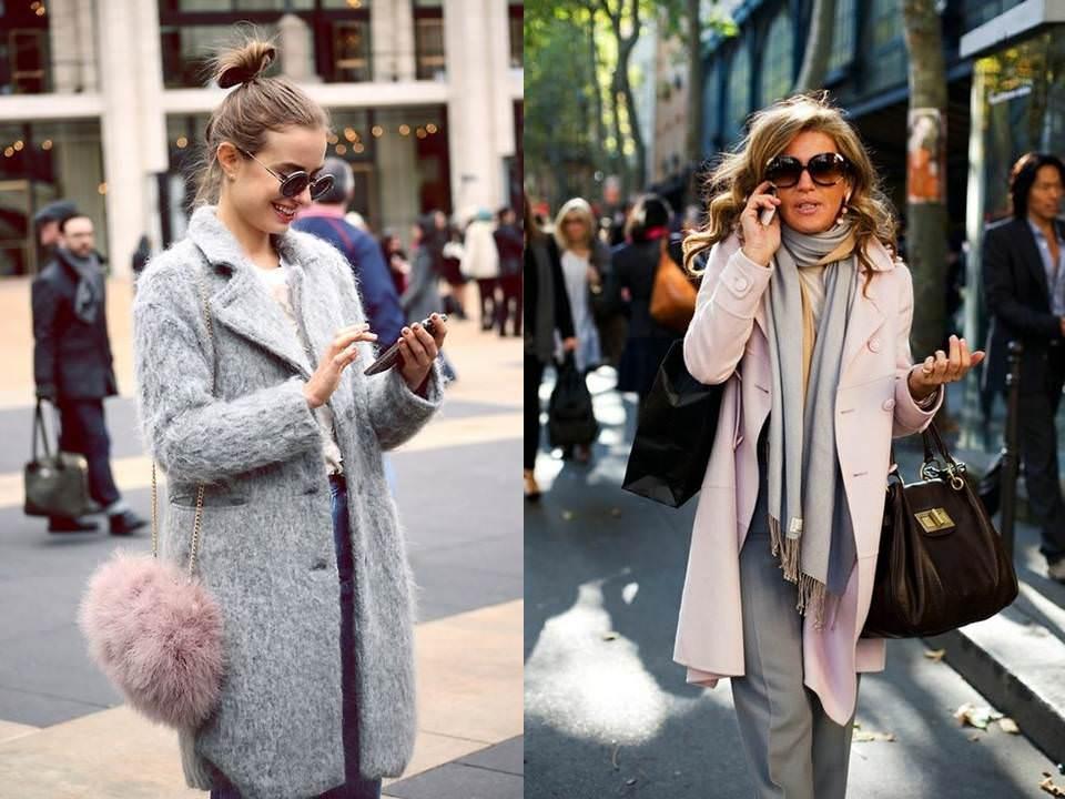 Look em tons de ciza e rosa quartz desfilam pelas ruas no inverno.