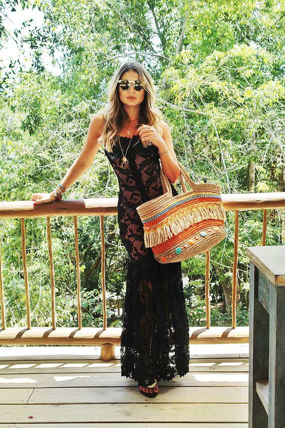 como usar bolsa de palha na praia e no dia a dia, por Alexandra Evangelista. Look Thassia Naves